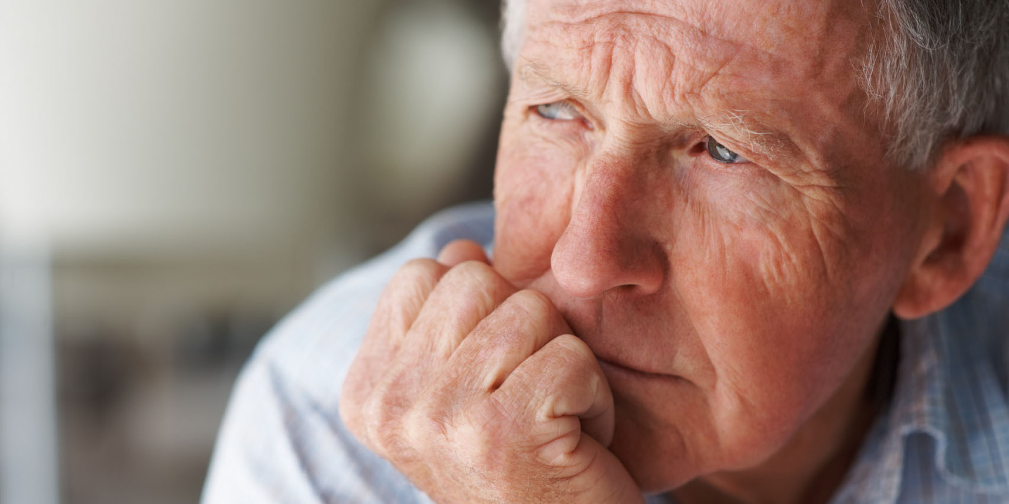 BMGP68 Closeup of a lonely senior man lost in thought , looking away. Image shot 2009. Exact date unknown.